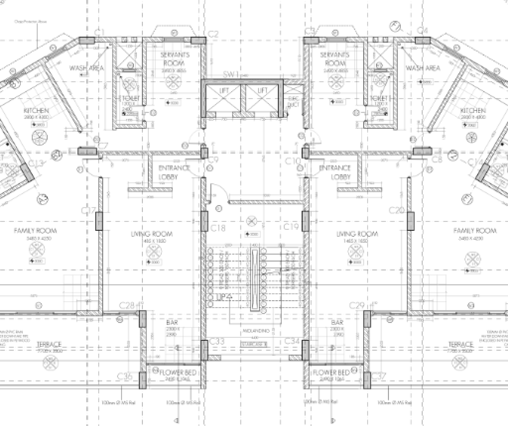 Plan And Section Of Residential Building