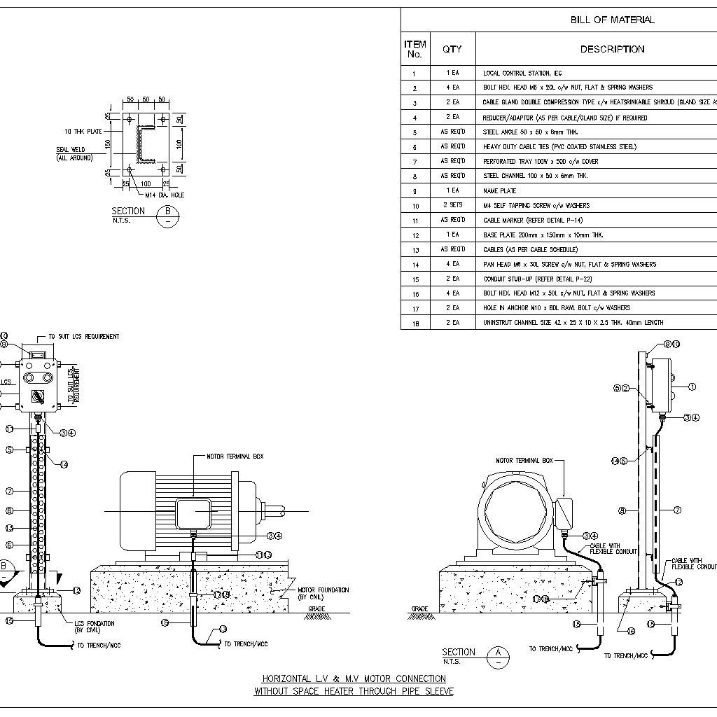 Horizontal Motor Without Space Heater Through Pipe Sleeve
