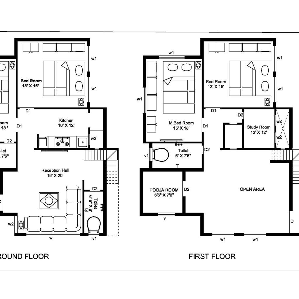 Autocad 2d First Floor Amp Ground Floor Plan
