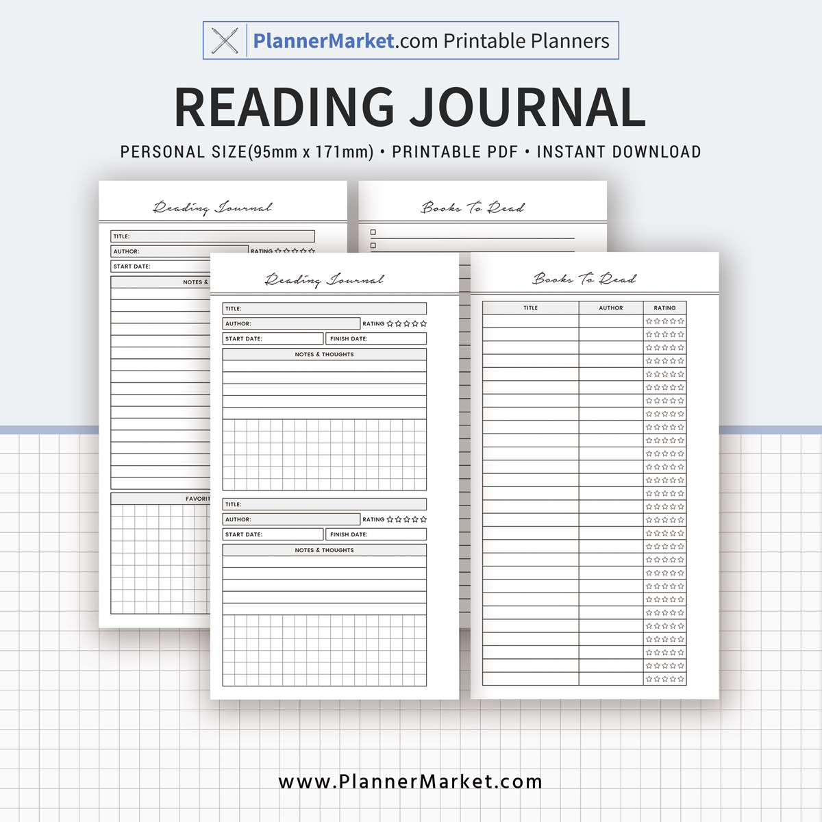 Reading Journal Planner Personal Size Inserts Planner Refill Planner Binder Printable