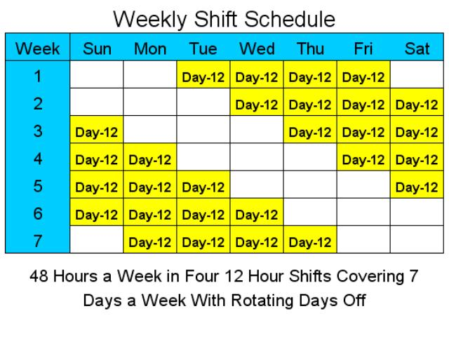 12 Hour Shift Schedule With 7 Days Off Planner Template Free