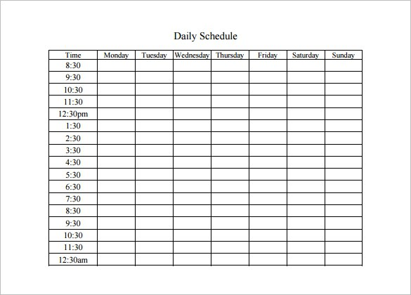 Daily Schedule Maker Planner Template Free