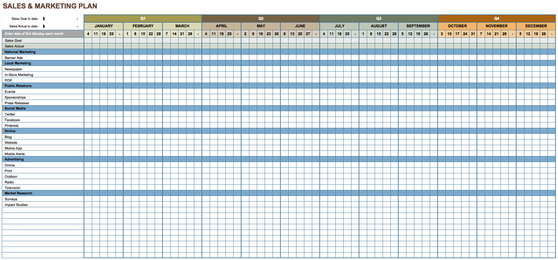 Yearly Planner Template Excel
