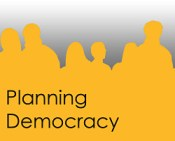Planning Democracy logo sihouettes of people