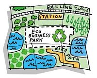 Cartoon map of a new Eco-business park