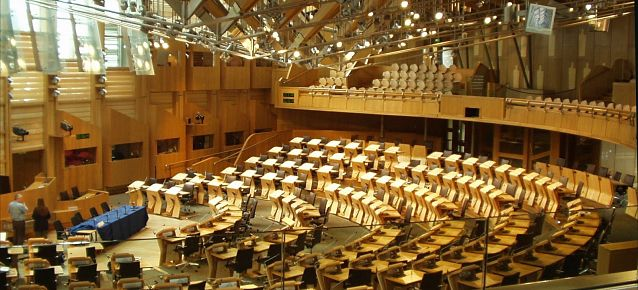 View of inside the Scottish Parliament's debating chamber