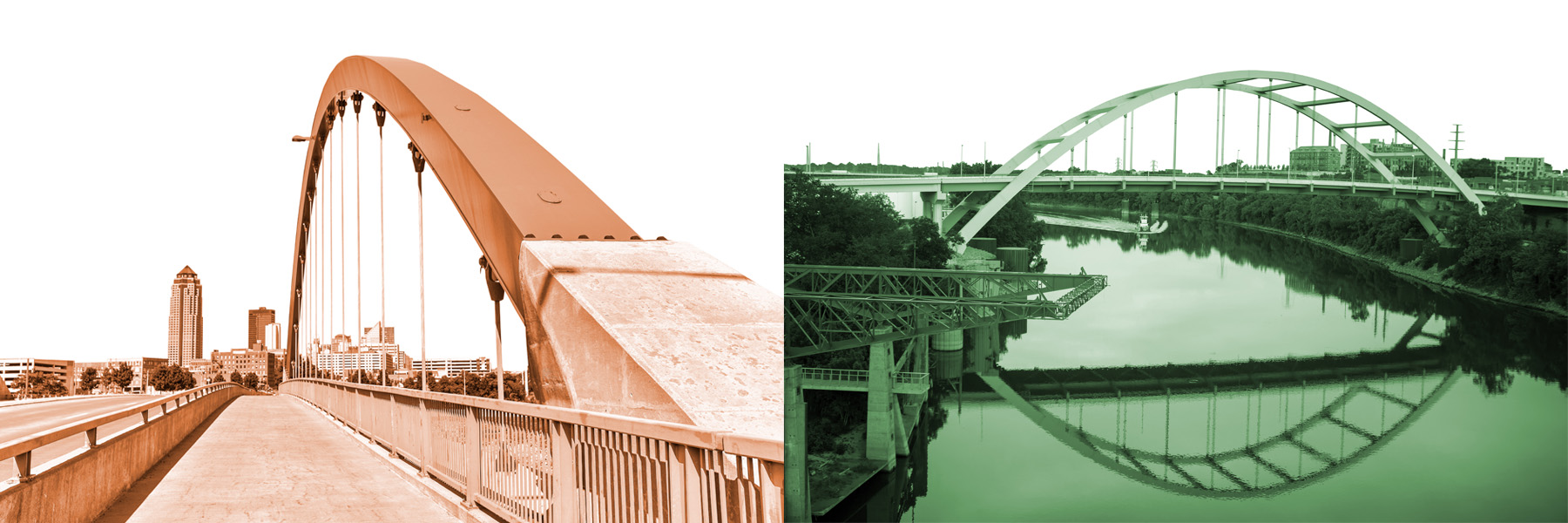 Footer banner photo showing two bridges