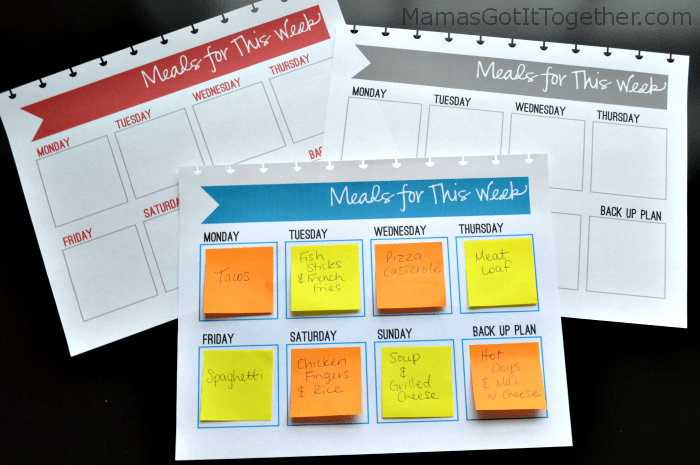 Free Sticky Note Meal Planner