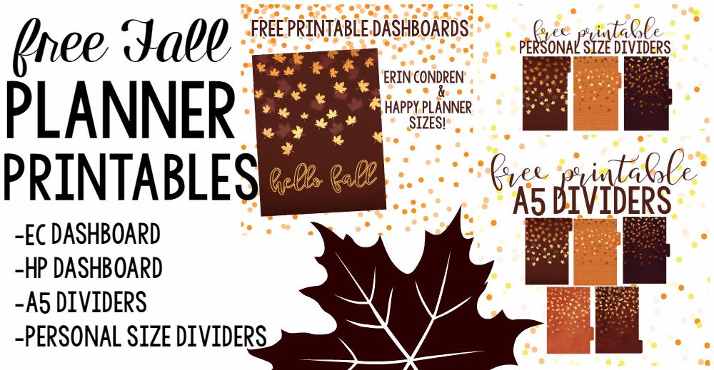 FALL FREEBIES! Printable Dashboards & Dividers