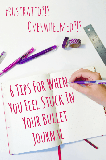 6 Tips When You Feel Stuck In Your Bullet Journal or Planner. How to overcome challenges and ideas to maintain organization when you want to quit. Inspiration and motivation in one blog post! Featuring stunning weekly, monthly layouts and quotes from other Instagram planners.