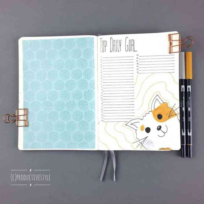 Bullet Journal Trackers and Collections. Monthly goal tracker layout from Productive Style.