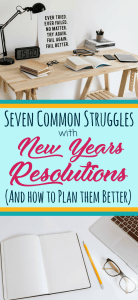Stop failing your New Year's Resolutions (again!). Get ideas and suggestions to help you overcome your challenges with your New Years goals and learn to plan them right. Includes suggestions to improve goal setting with bullet journals. Whether the resolutions are for fitness, getting healthy, new activities, money, or crafts, learn how to find success with whatever you pick! #newyearsresolutions #planning #mindfully #success #goals #bulletjournal