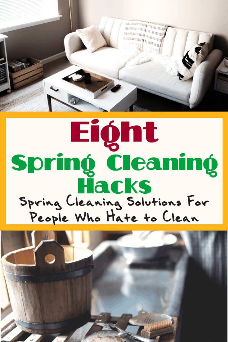 Spring cleaning hacks that will help you jump start your spring cleaning, even if you are lazy or struggle to get organized easily! Learn how to clean your home quicker, easier, and have fun while doing it!