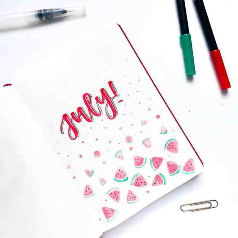 Fun watermelon cover page by @sketches.sunny You can't have summer without watermelon! This fun page is easy to draw while appearing crisp and pretty. Love how the watermelon colors are a lighter version of the same colors in the font. #bulletjournal