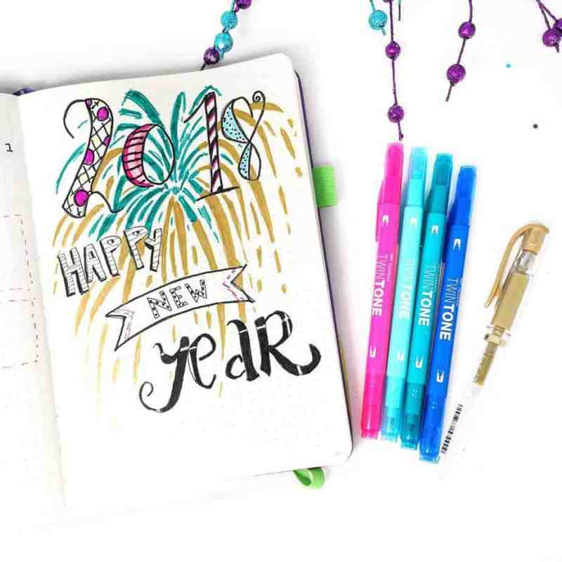 Made by @planningmindfully I had to show off one of my very favorite bullet journal cover page spreads I made for the New Year! While it's written for 2018, change the year for a classic layout you can use for a future New Year.