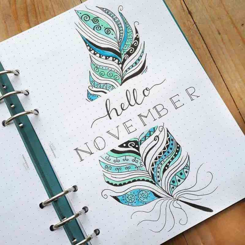 Feathery cover page from @seras.bullet.journal This feathery theme is beautiful and intricate, but as you can see would be very fun and easy to replicate in any month of your bullet journal.