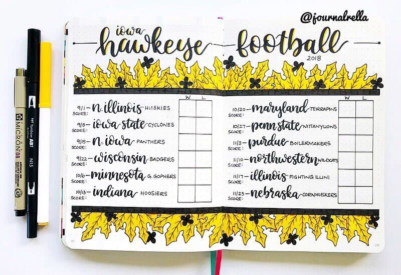 Bullet journal hawkeye football layout.