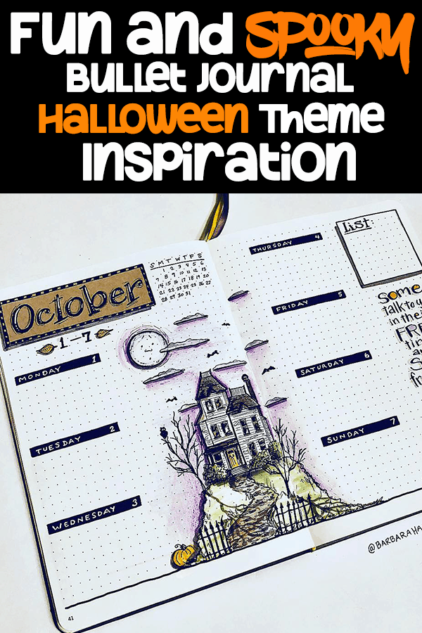 Fun and spooky bullet journal halloween theme inspiration pin