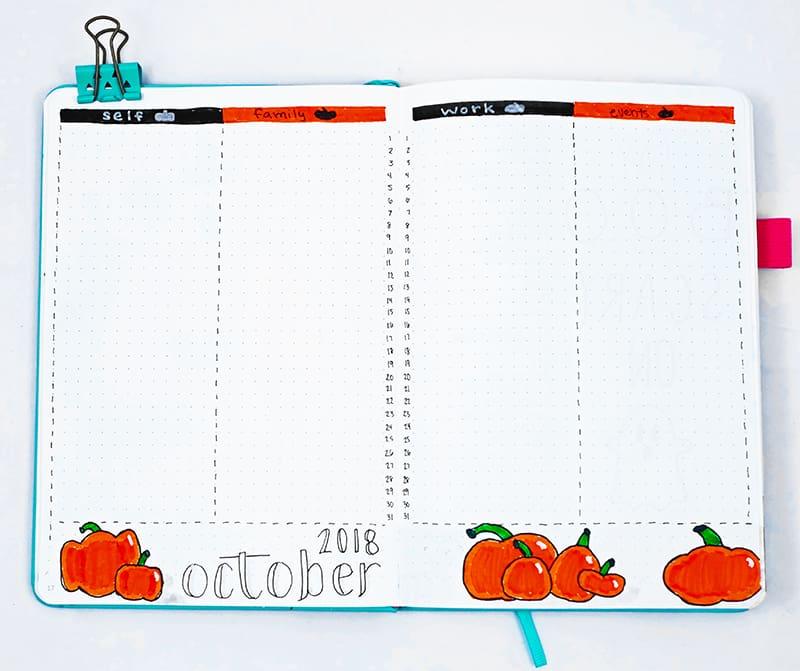 Bullet journal monthly calendar with pumpkins