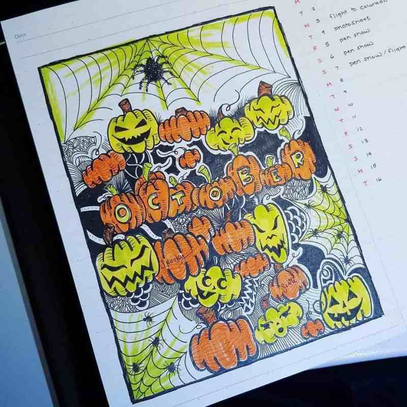 October cover page spread for bullet journal with spooky pumpkin doodles
