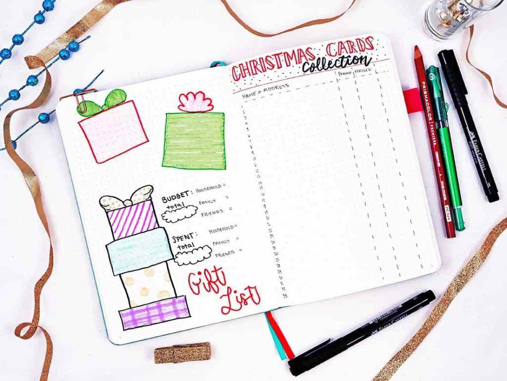 Bullet journal holiday theme layouts for presents and cards