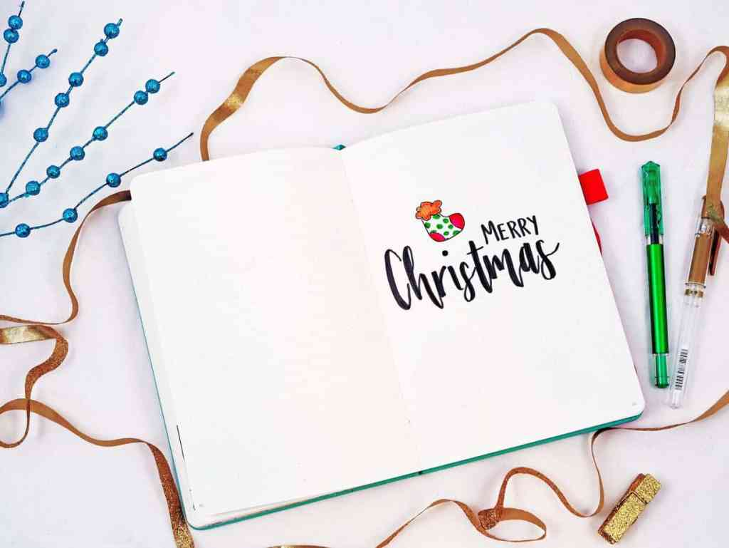 Bullet journal holiday theme Merry Christmas cover page for 2018