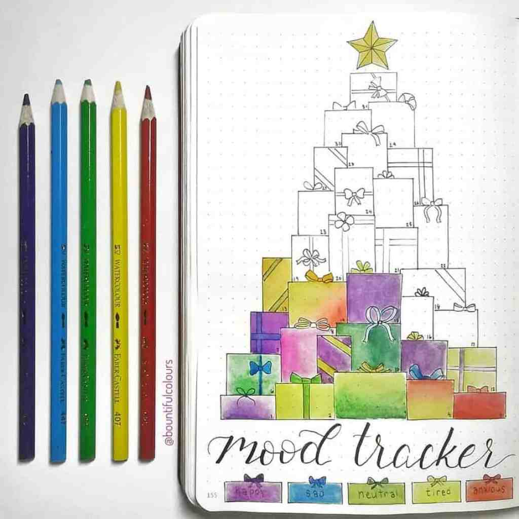 bountifulcolours beautiful bullet journal holiday theme mood tracker