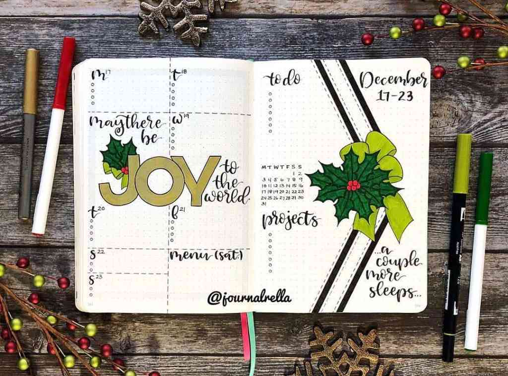 Holiday theme weekly bullet journal layout from journalrella
