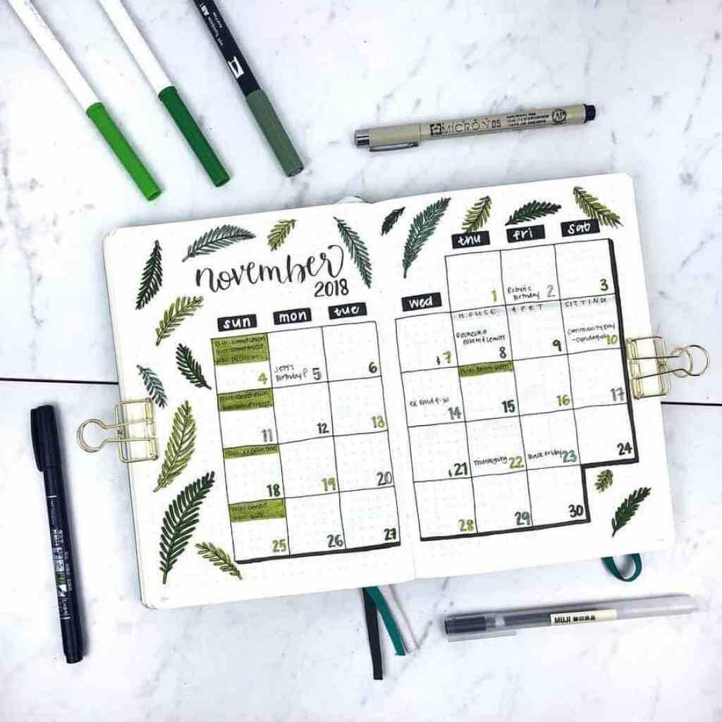 Bullet journal monthly calendar for November 2018.