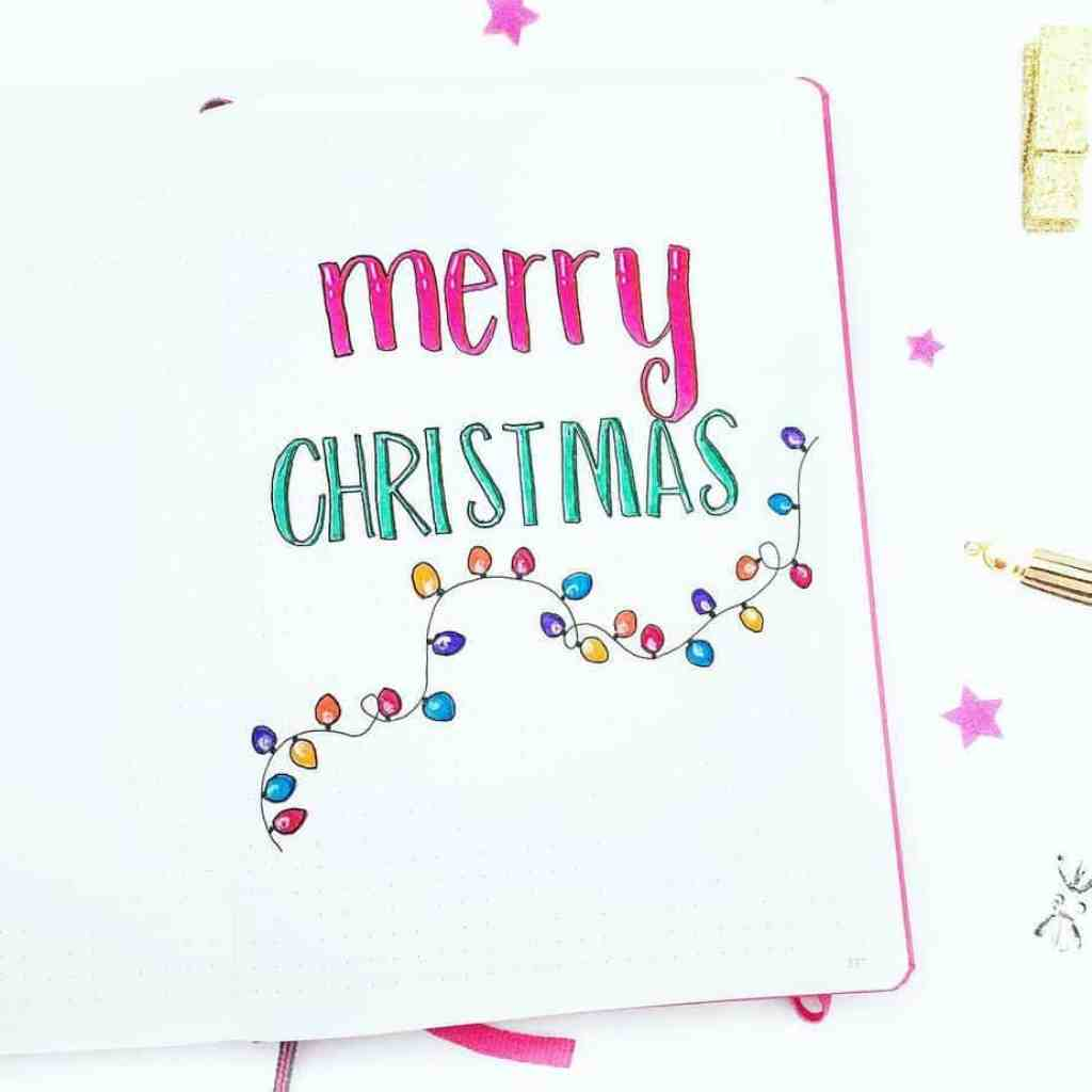 Bullet journal holiday theme Merry Christmas cover page for 2017