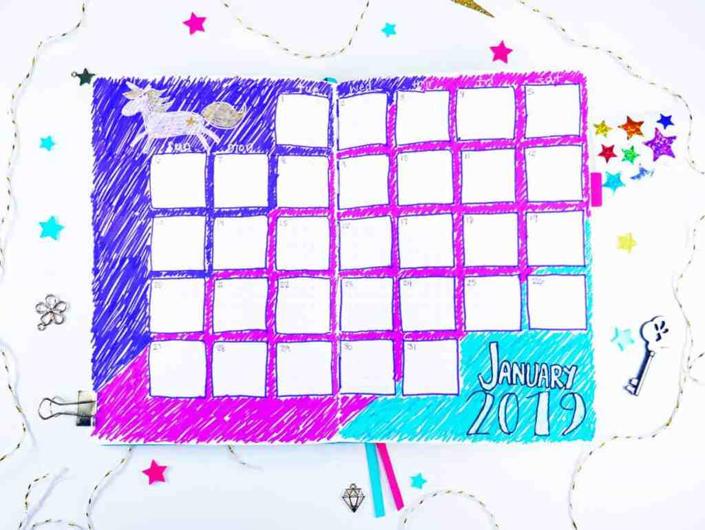 Unicorn design monthly calendar for January 2019