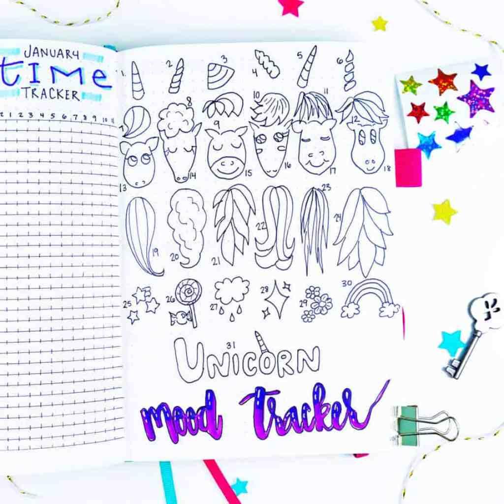 Design your own unicorn bullet journal mood tracker