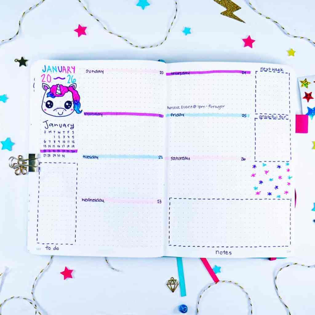 Tye-dye unicorn bullet journal weekly layout