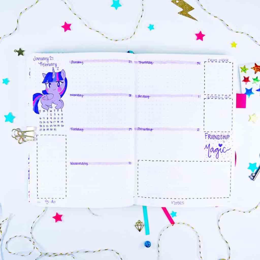 Twilight Sparkle unicorn bullet journal weekly layout