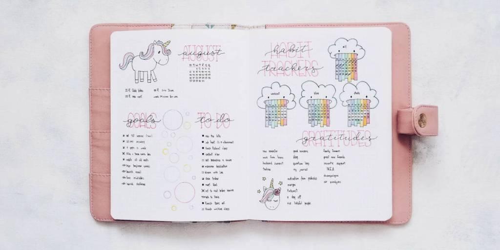 Unicorn theme habit tracker with unicorn doodles and vomiting rainbows