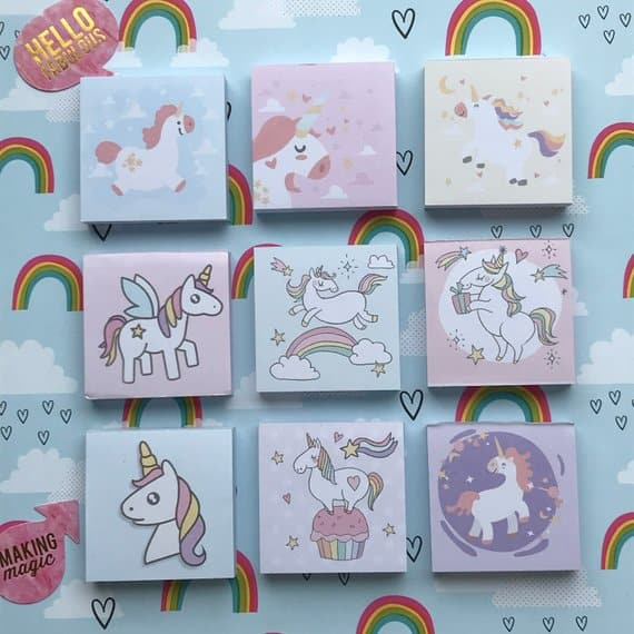 Unicorn themed post it notes