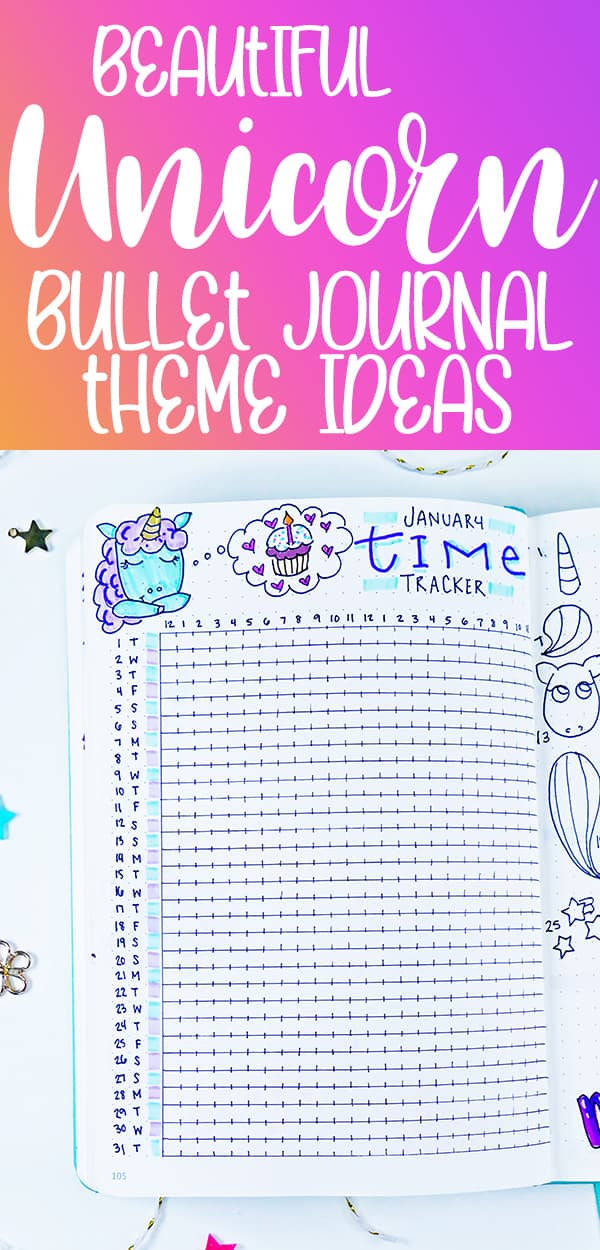 Bullet journal pinterest pin with unicorn theme time tracker layout