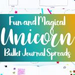 Blue and yellow pin for unicorn bullet journal theme post