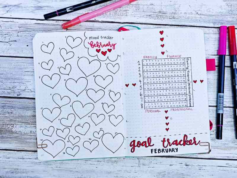 Bullet journal layouts for February with lots of heart drawings