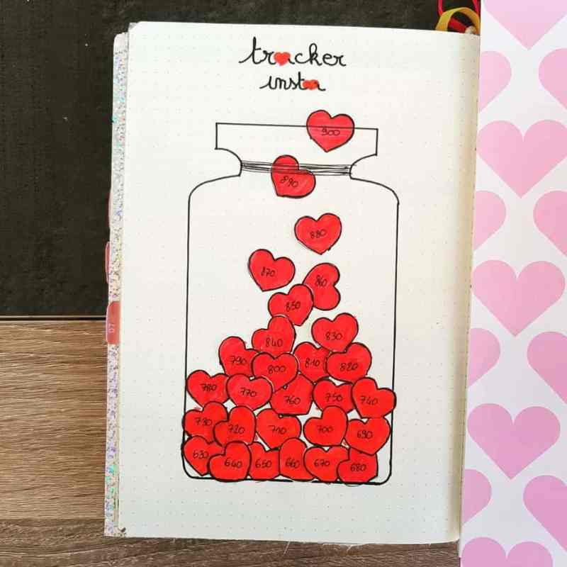 Heart doodles Instagram tracker bullet journal collection