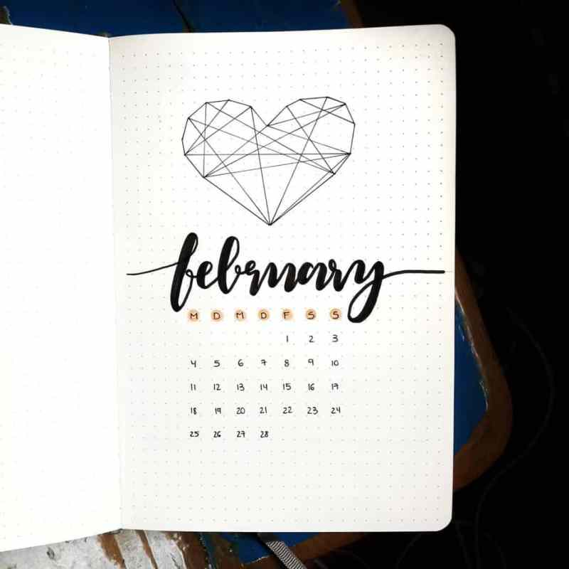 Geometric heart and February calendar cover page for bullet journal