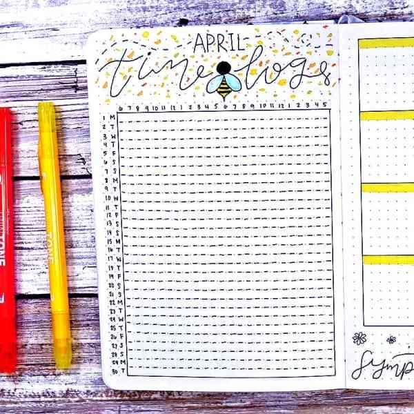 April bullet journal time tracker
