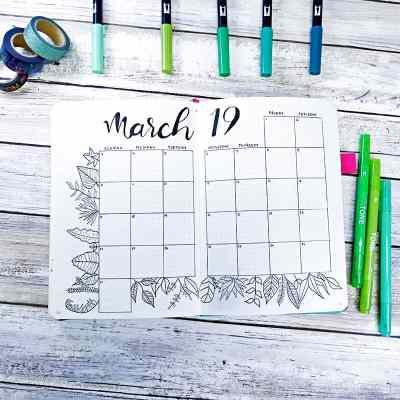 Bullet journal calendar with plant doodle border.