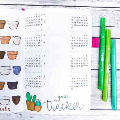 diy plant art bullet journal layout goal tracker.