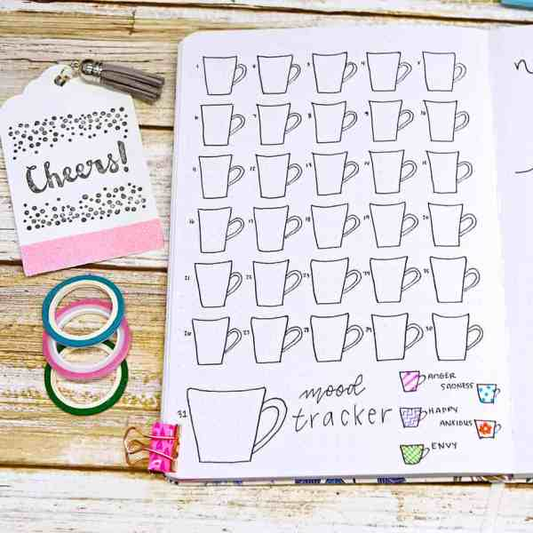 Bullet journal mood tracker coffee cups