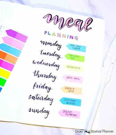 Meal prepping layout for bullet journal home organization