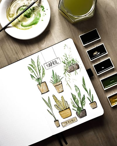 Fun houseplant doodles for April cover page.