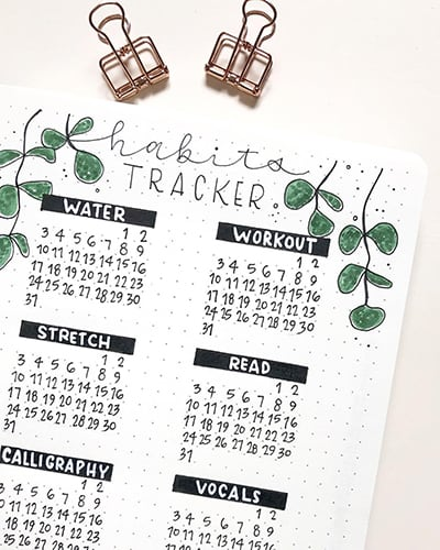 Leafy habit tracker bullet journal setup.