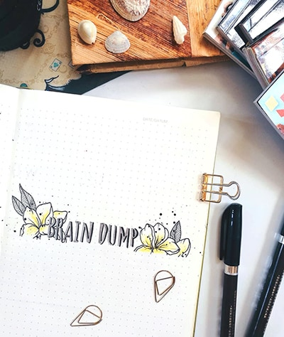 Braindump with calligraphy and flower doodles