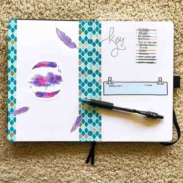 Bullet journal key layout with feathers and washi tape